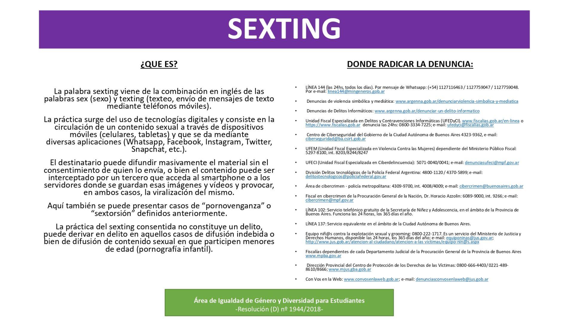 «Información sobre el procedimiento especial para denuncias urgentes» – Área de Igualdad de Género y Diversidad para Estudiantes – Facultad de Derecho, UBA.