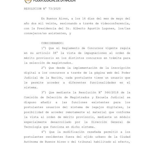 Nueva resolución 73/2020 Consejo Magistratura Nación: -mod. del reglamento de Concursos- impugnaciones al orden de mérito provisorio