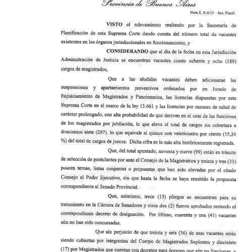 Nueva resolución S.C.J.B.A.: » Solicitó la agilización de los procesos de selección de Magistrados para poder cubrir vacantes «