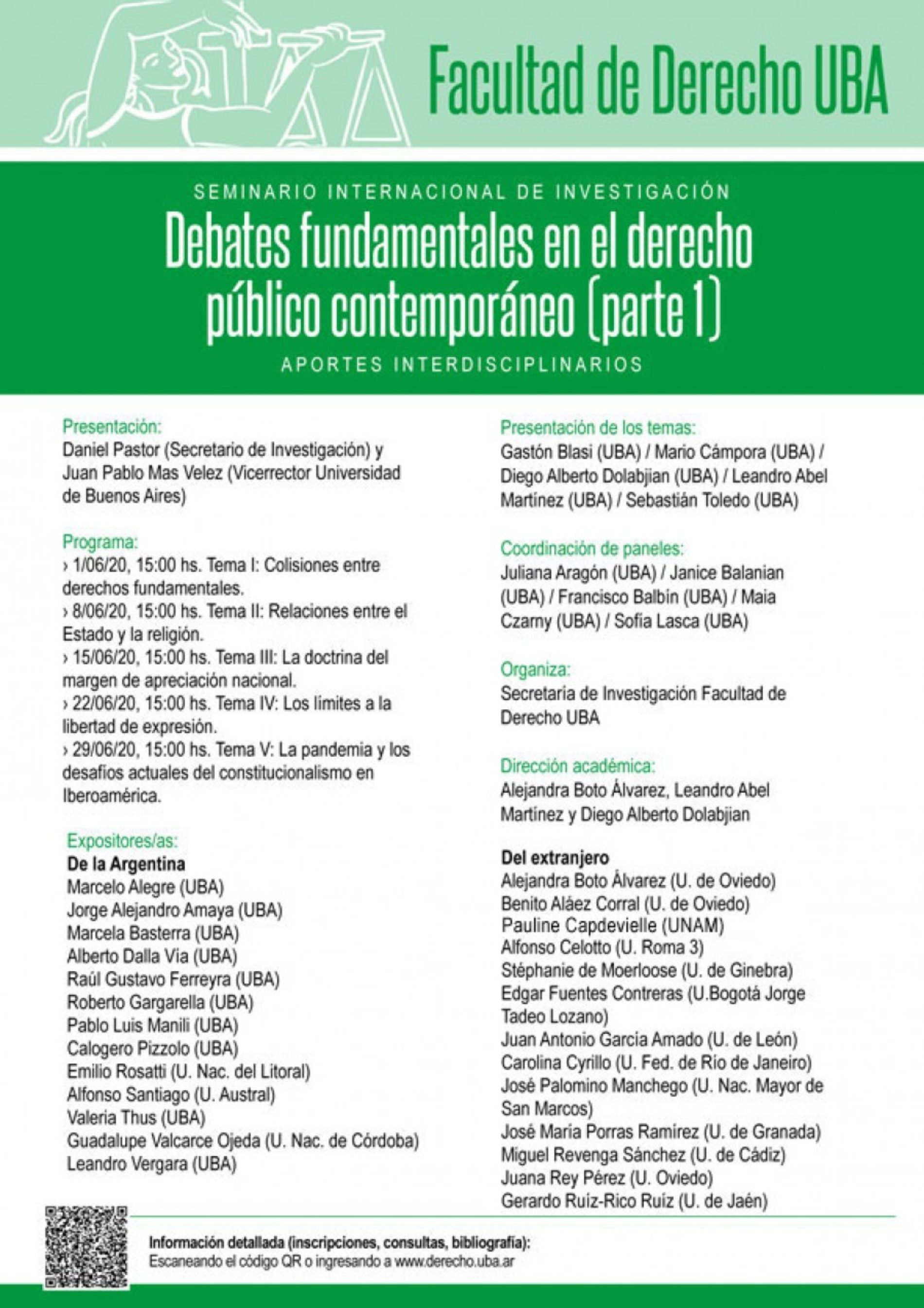 Seminario de investigación: «Debates fundamentales en el derecho público contemporáneo» (Parte I). Aportes interdisciplinarios.