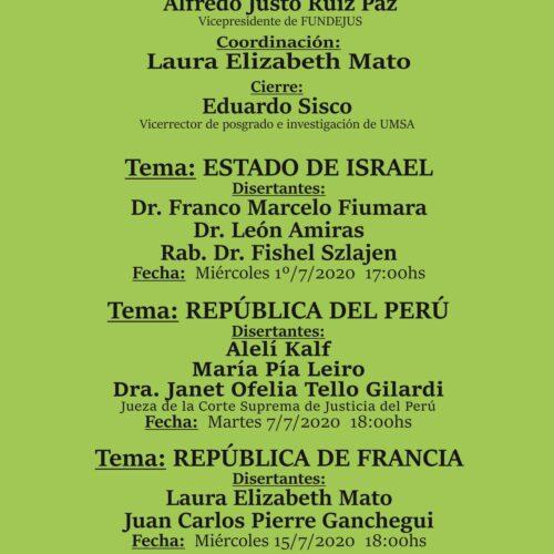 Ciclo de conferencias -julio 2020-: » Sistemas Judiciales Comparados: Israel, Perú y Francia «