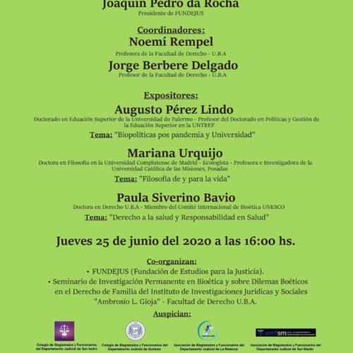 Nueva jornada: » Bioética y Biopolíticas en la perspectiva pos pandemia «