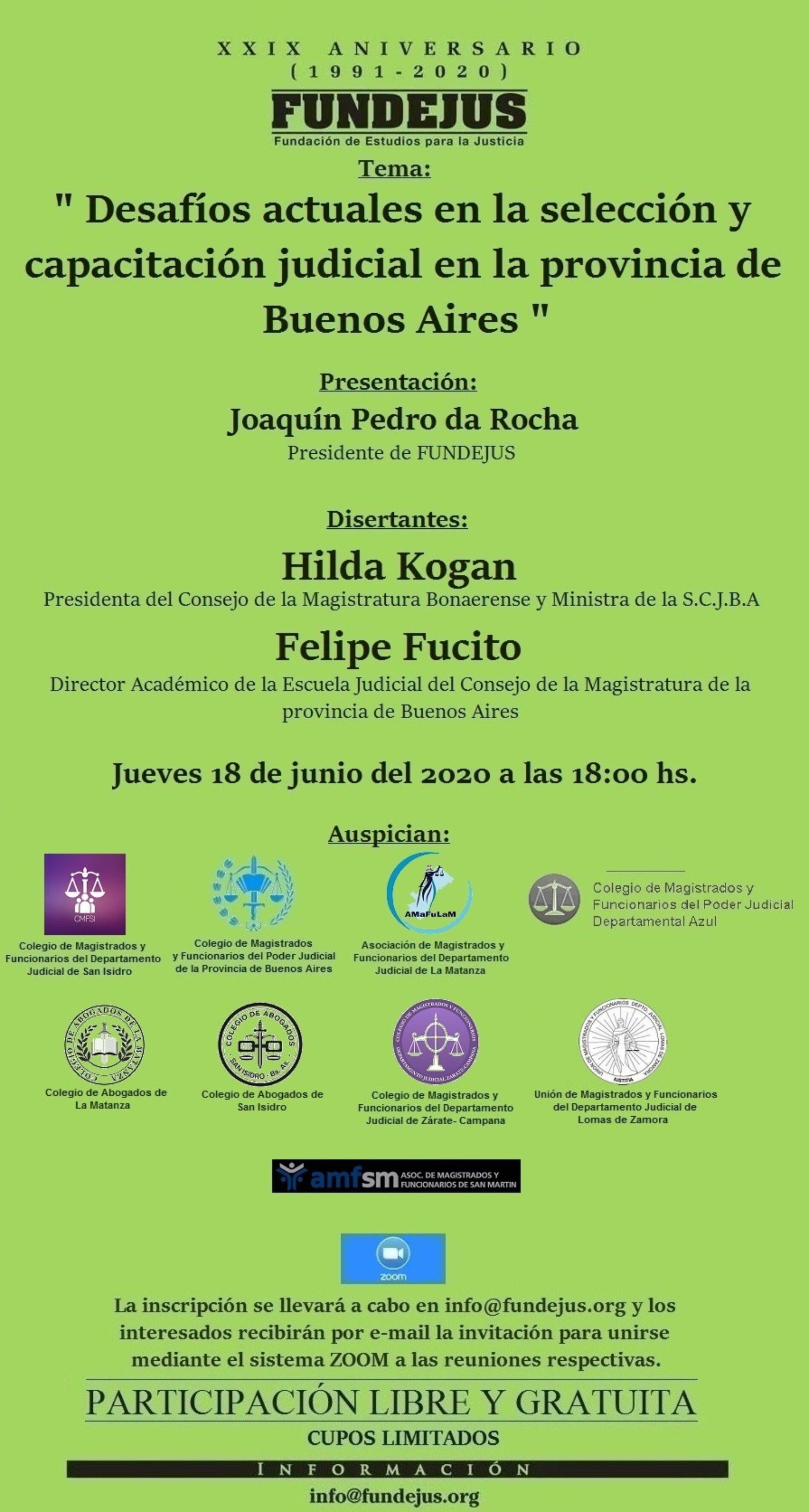 Declaración de interés de la S.C.J.B.A (Res. 579/20) – Jornada: «Desafíos actuales en la selección y capacitación judicial en la provincia de Buenos Aires».