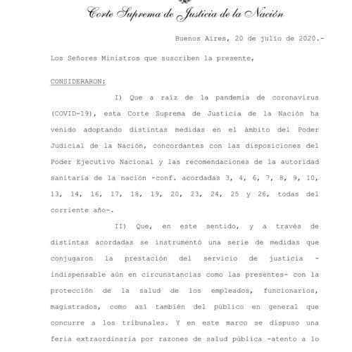 Acordada N° 27/2020 – Corte Suprema de Justicia de la Nación