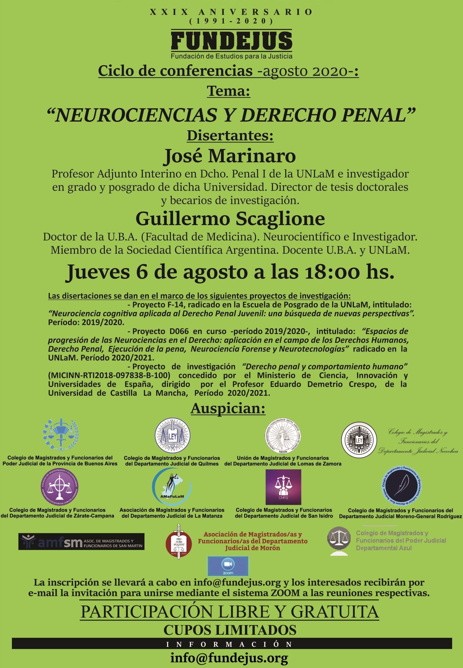 Nueva jornada: «Neurociencias y Derecho Penal»