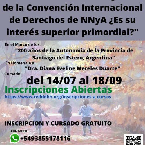 """Curso de Alta Formación Interdisciplinaria: """"A más de 30 años de vigencia de la Convención Internacional de Derechos de NNyA ¿Es su interés superior primordial?"""""""