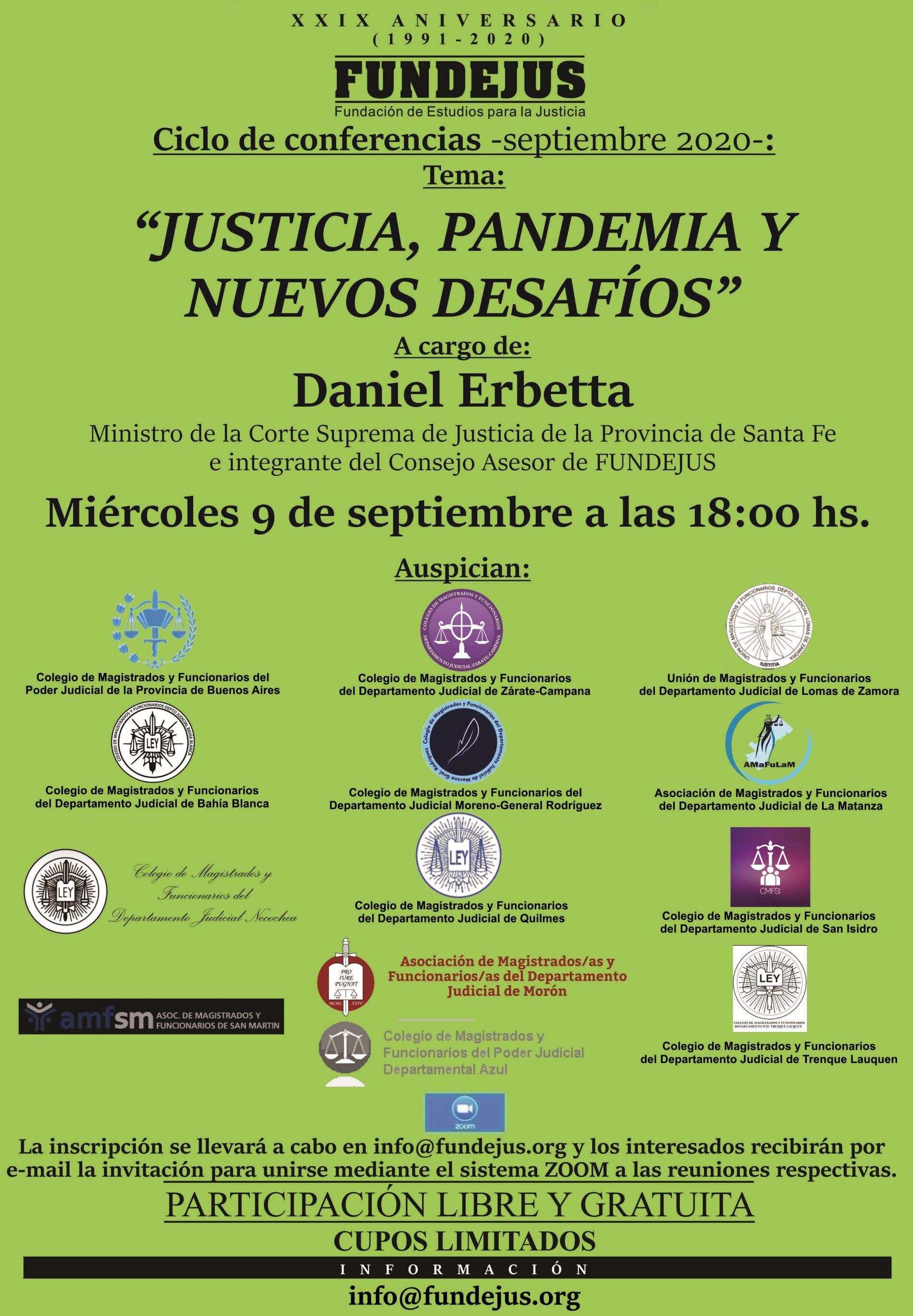 Próxima jornada 9/9: «Justicia, pandemia y nuevos desafíos»