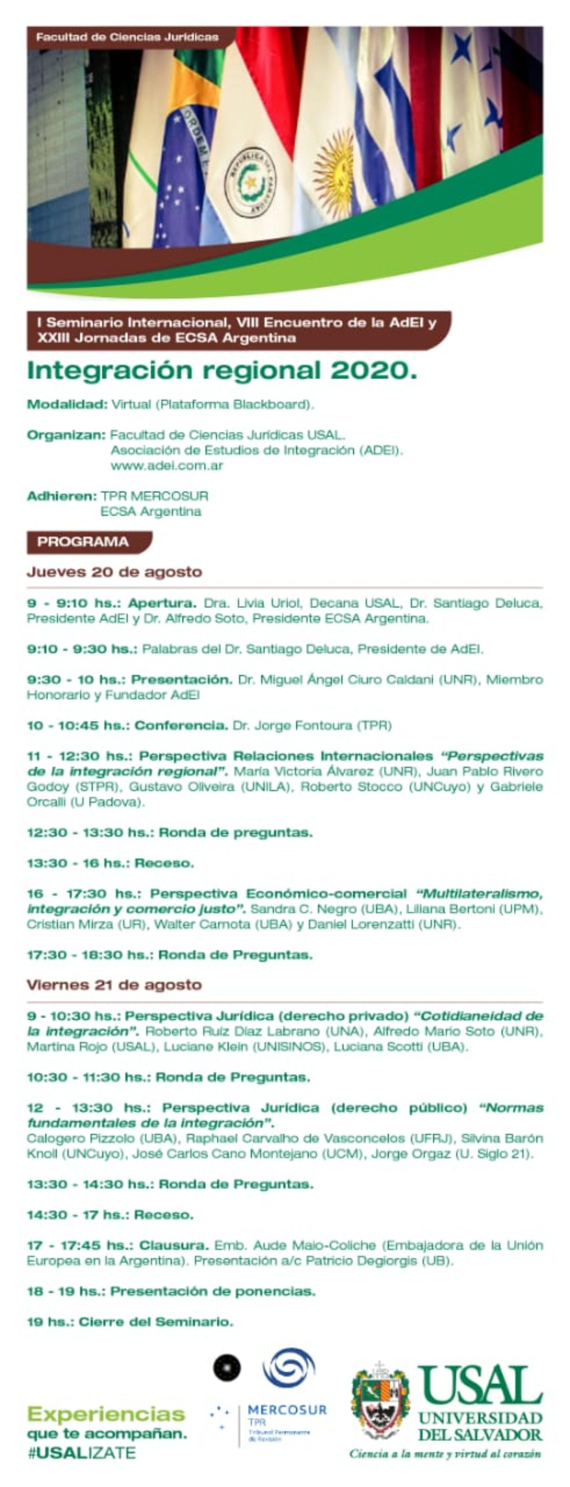 I Seminario Internacional, VIII Encuentro de la AdEI y XXIII Jornadas de ECSA Argentina.