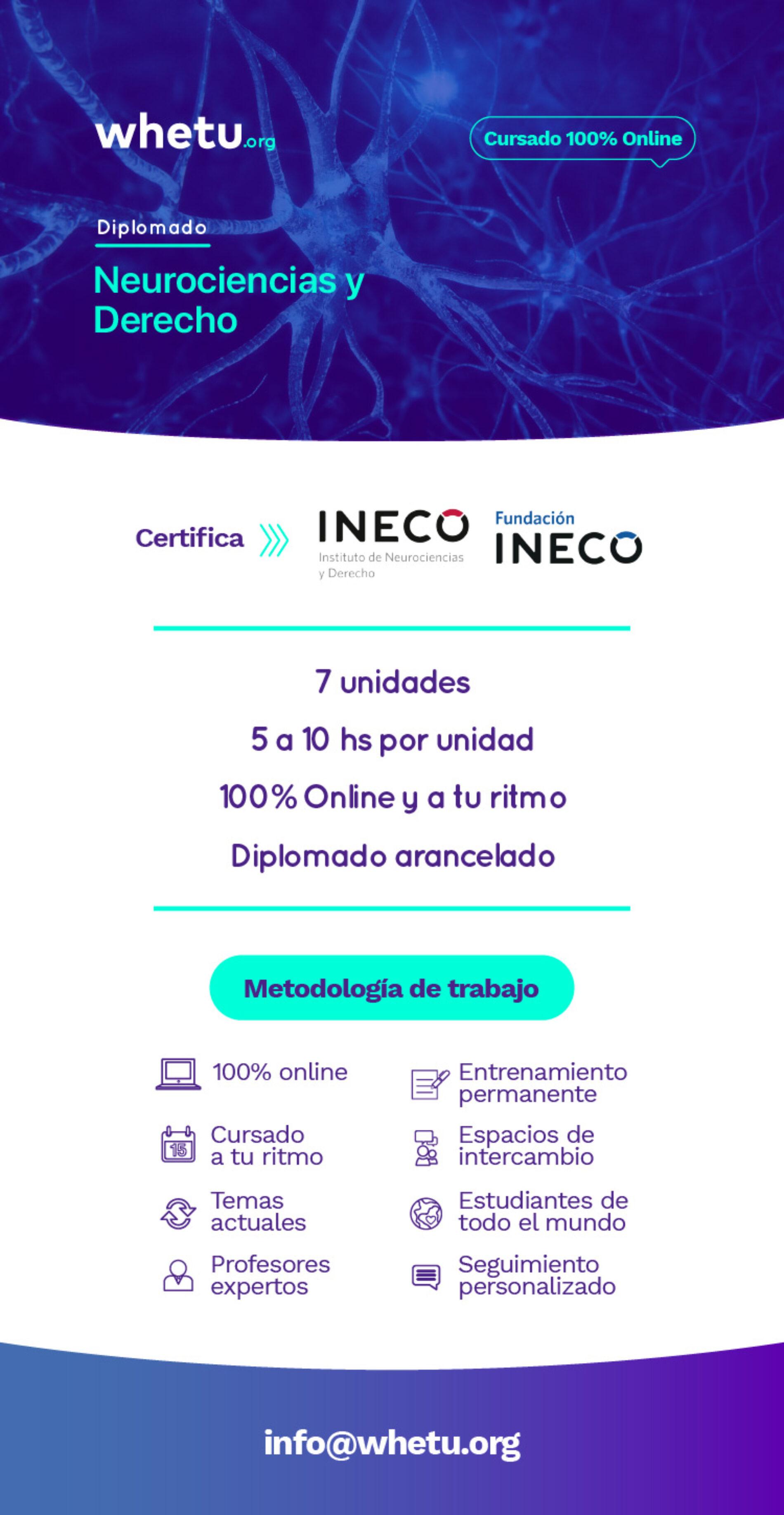 Curso online «Neurociencias y Derecho» Fundación INECO -Socios Fundejus 50% de descuento-
