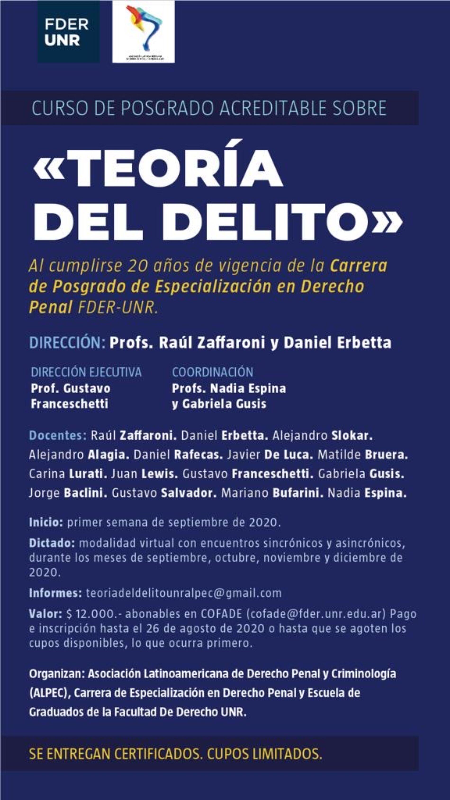 """Curso de posgrado sobre """"Teoría del delito"""". Carrera Especialización en Derecho Penal UNR y ALPEC."""