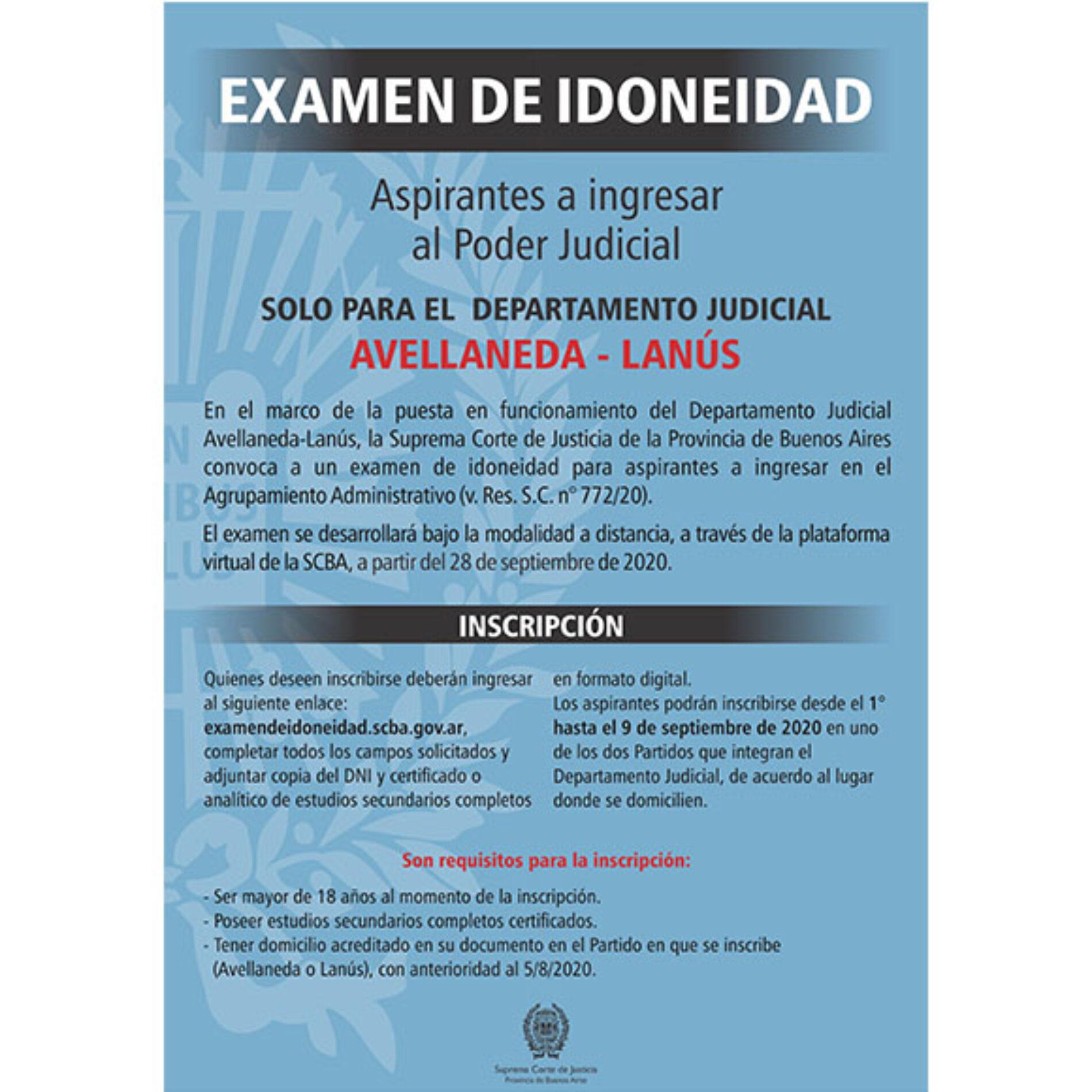 Convocatoria S.C.J.B.A.: Examen de Idoneidad para aspirantes a ingresar en el Departamento Judicial Avellaneda-Lanús.