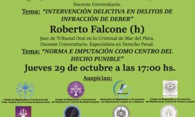 -NUEVA FECHA- 29/10 jornada : «ANÁLISIS DE CUESTIONES PENALES»