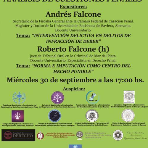 Próxima jornada 30/09: «ANÁLISIS DE CUESTIONES PENALES»