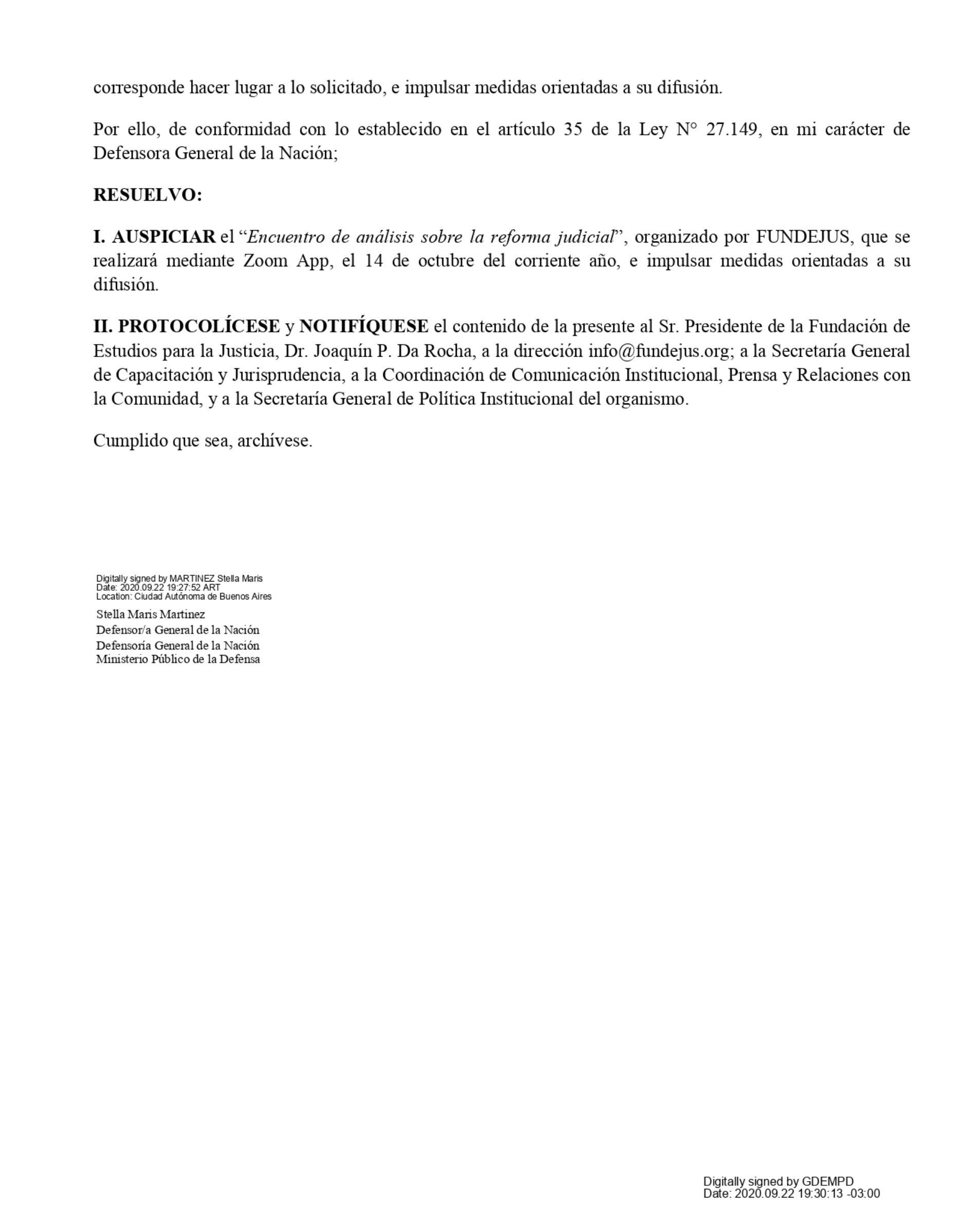 Res. Nº 870/20 – Defensoría General de la Nación. Resuelve auspiciar el «Encuentro de análisis sobre la Reforma Judicial. Aportes de FUNDEJUS al Consejo Consultivo (Decreto Nº 635/2020)» Organizado por FUNDEJUS.
