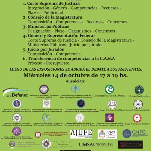 Próxima actividad: 14/10 «Encuentro de análisis sobre la reforma judicial. Aportes de FUNDEJUS al Consejo Consultivo (Decreto Nº 635/2020)»