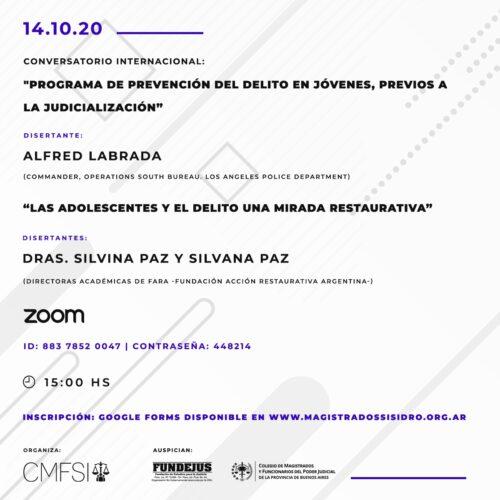 Conversatorio internacional – organizado por el Colegio de Magistrados y Funcionarios de San Isidro.