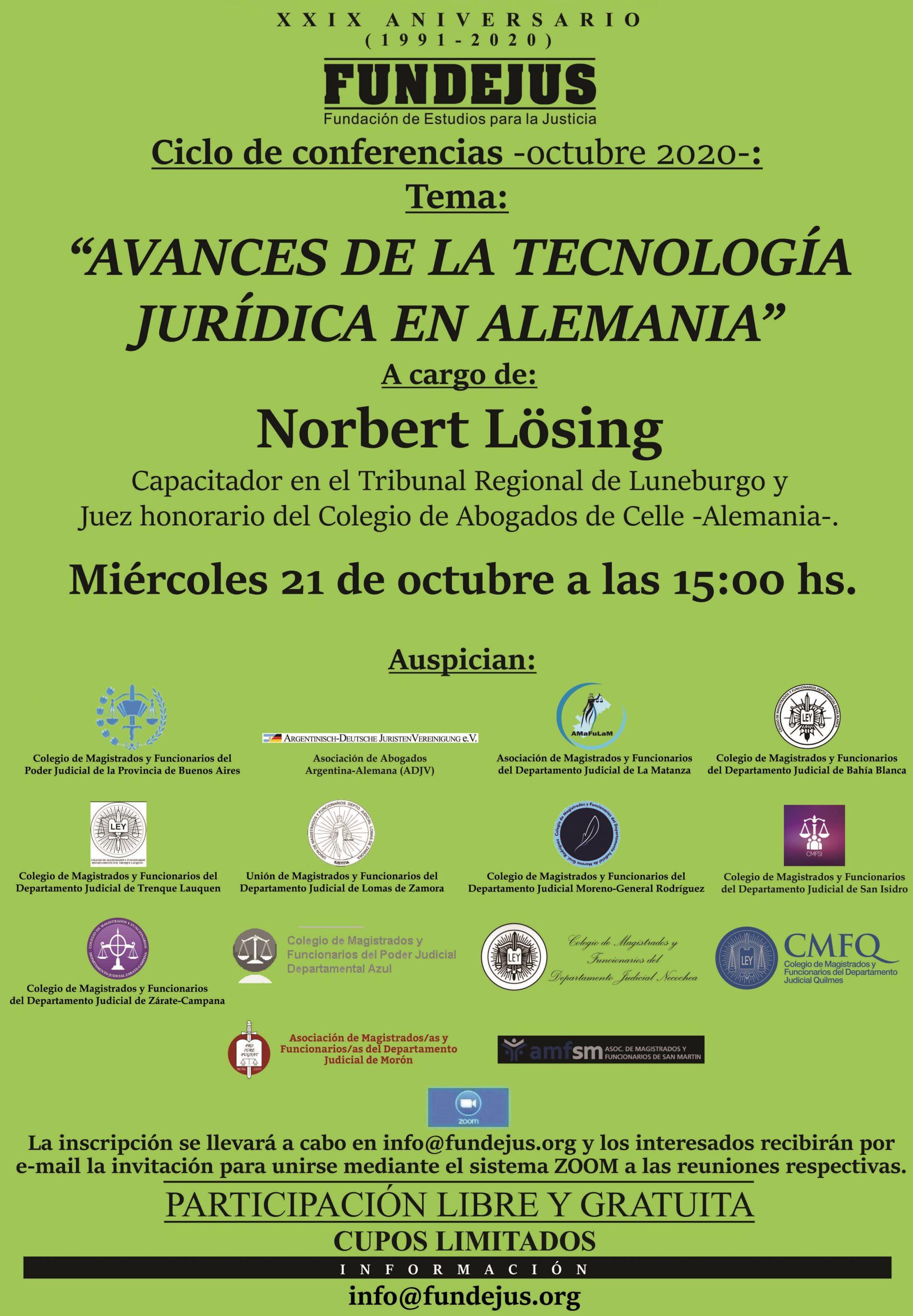 Próxima jornada: 21/10 «AVANCES DE LA TECNOLOGÍA JURÍDICA EN ALEMANIA»
