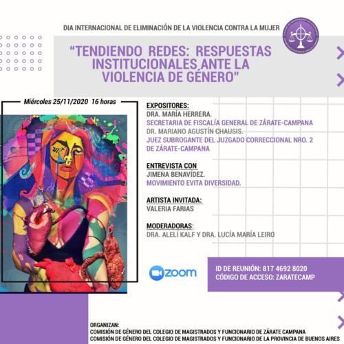 """Jornada: """"TENDIENDO REDES: RESPUESTAS INSTITUCIONALES ANTE LA VIOLENCIA DE GÉNERO"""""""