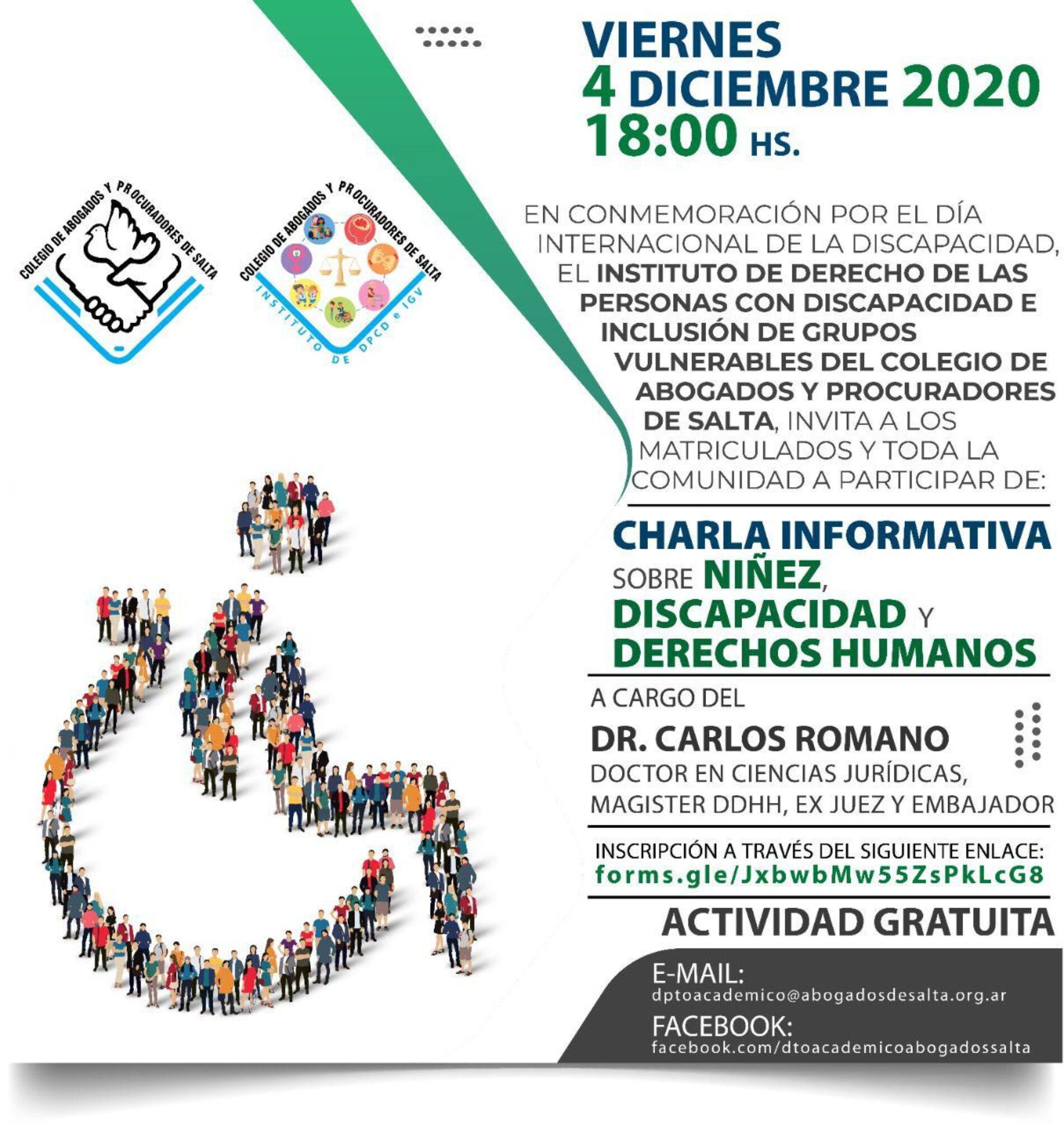 CHARLA INFORMATIVA SOBRE NIÑEZ, DISCAPACIDAD Y DERECHOS HUMANOS – Dr. Carlos Romano