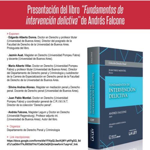 Presentación del libro «Fundamentos de intervención delictiva», de Andrés Falcone.