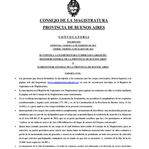 Consejo de la Magistratura de la Pcia. de Bs. As. Convocatoria Nro. 1