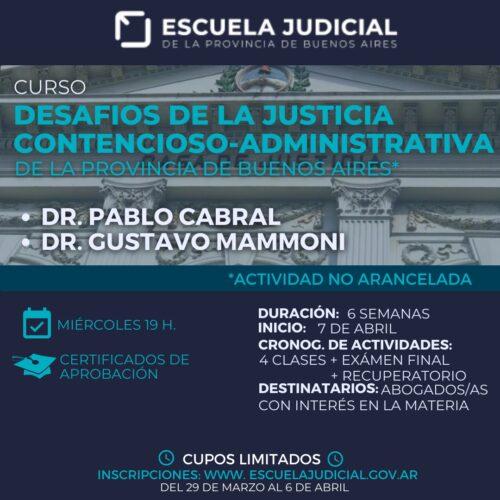 Abierta la inscripción curso Extracurricular «Desafíos de la Justicia Contencioso-Administrativa de la Provincia de Buenos Aires»
