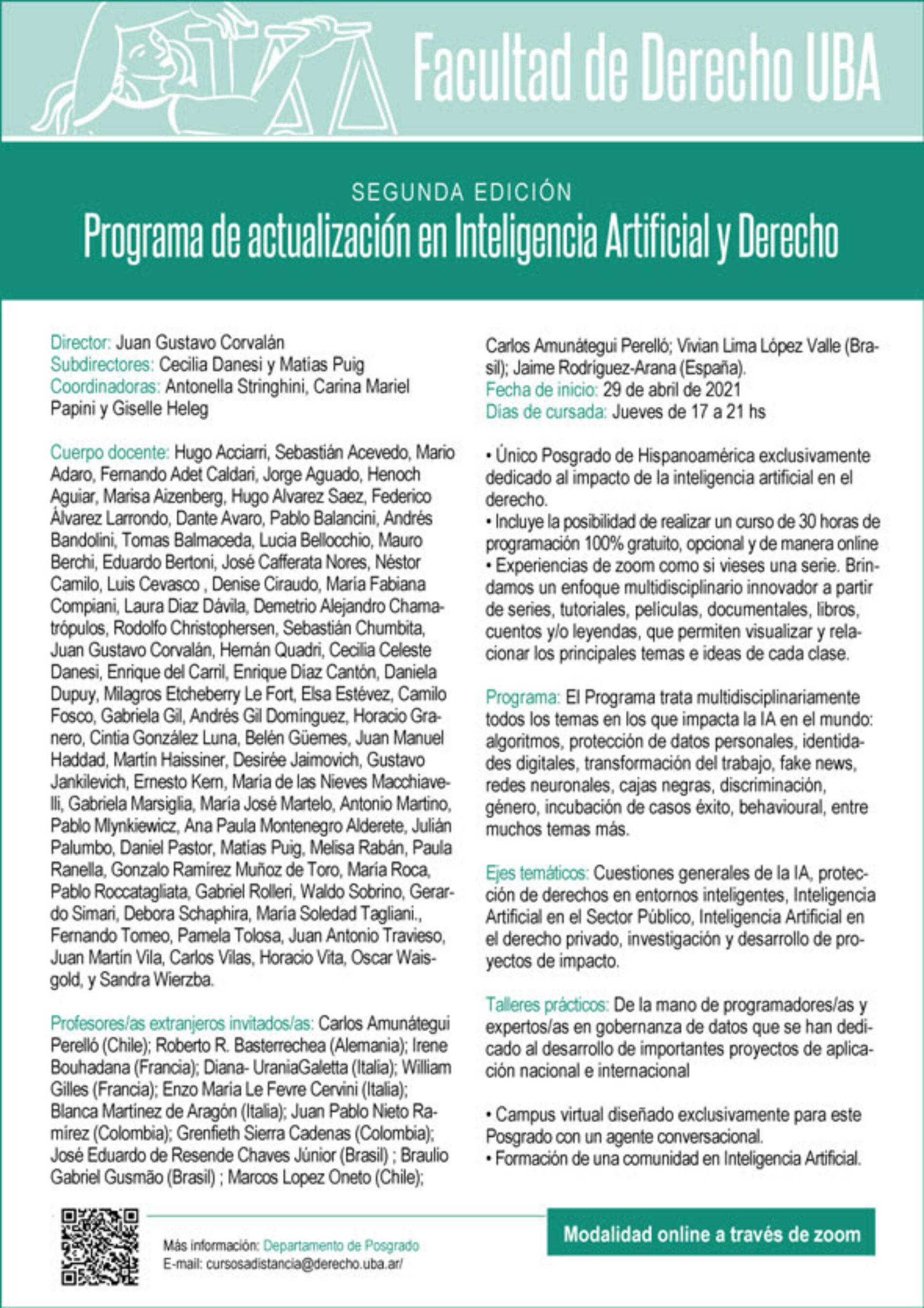 Programa de actualización en Inteligencia Artificial y Derecho.