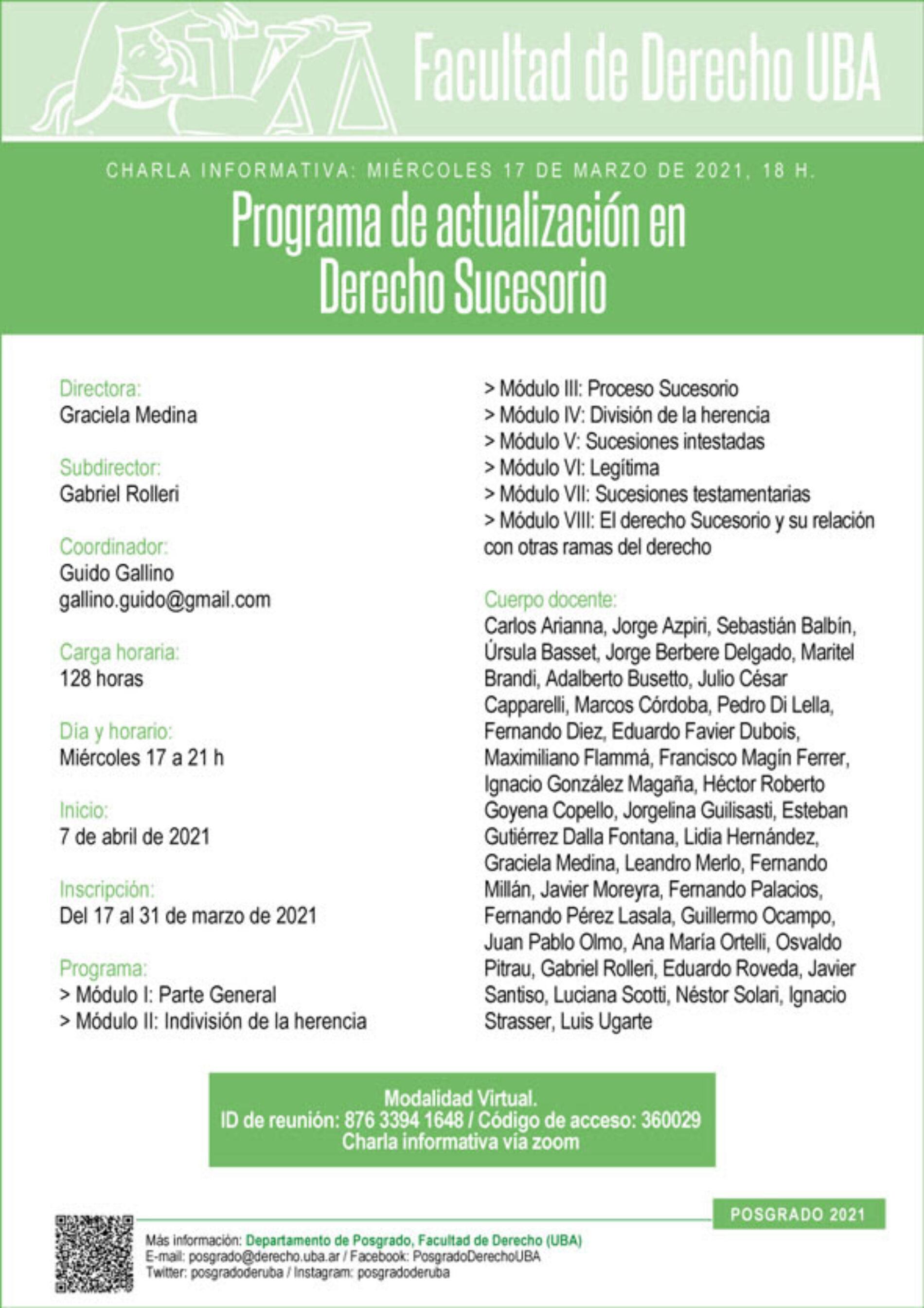 Charla informativa del Programa de actualización en Derecho Sucesorio.