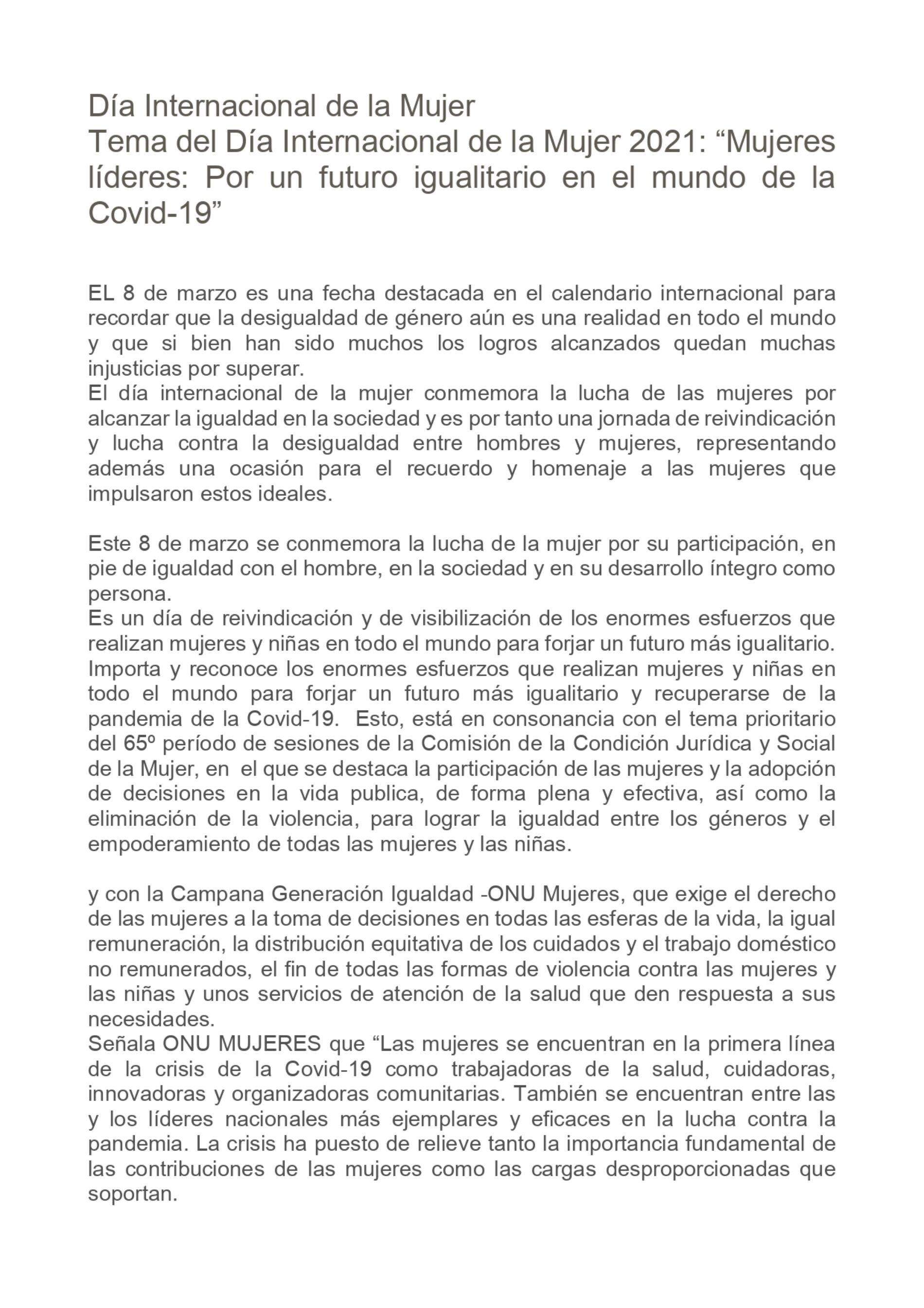 Día Internacional de la Mujer. «Mujeres líderes: Por un futuro igualitario en el mundo de la Covid-19»