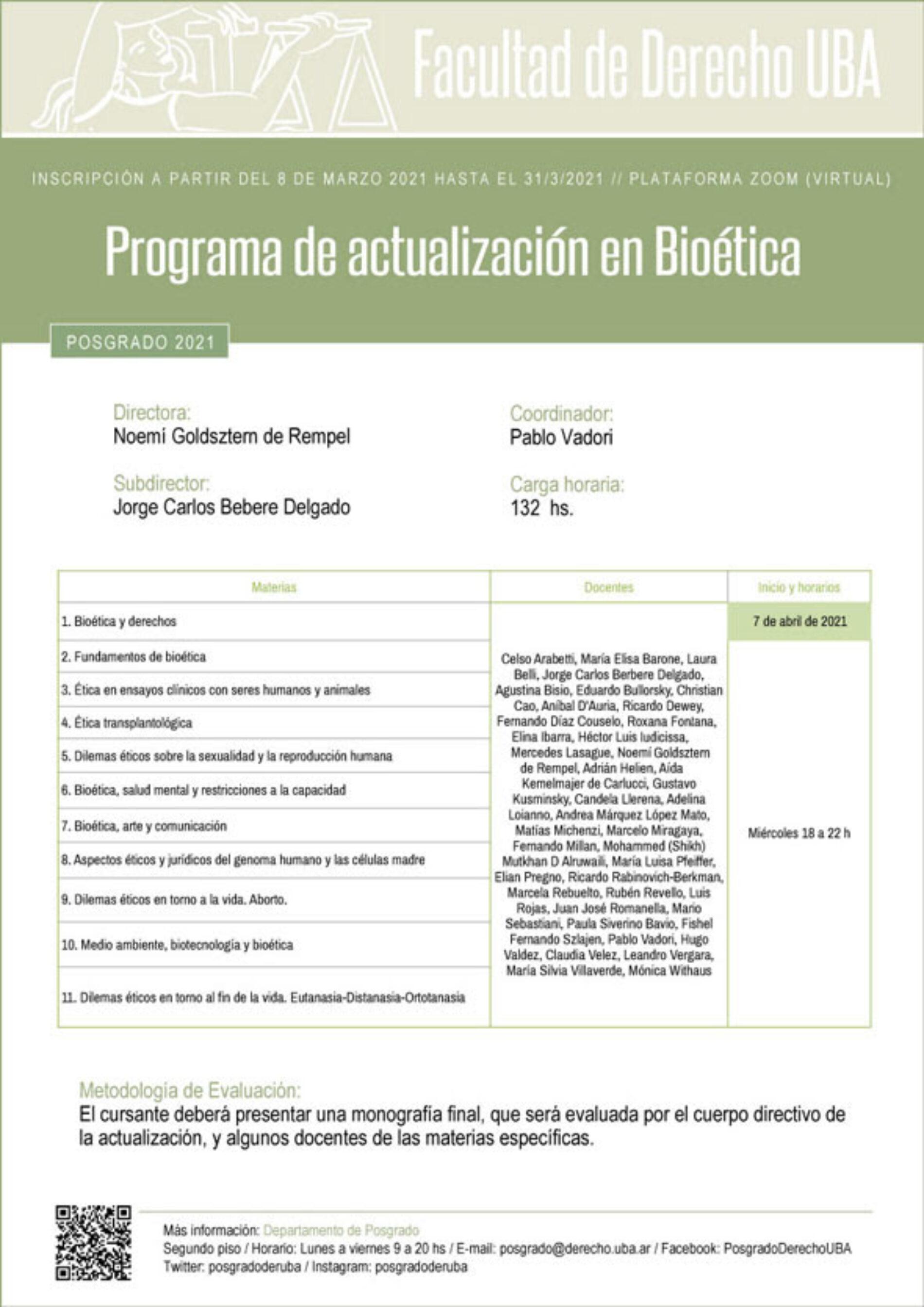 Programa de actualización en Bioética