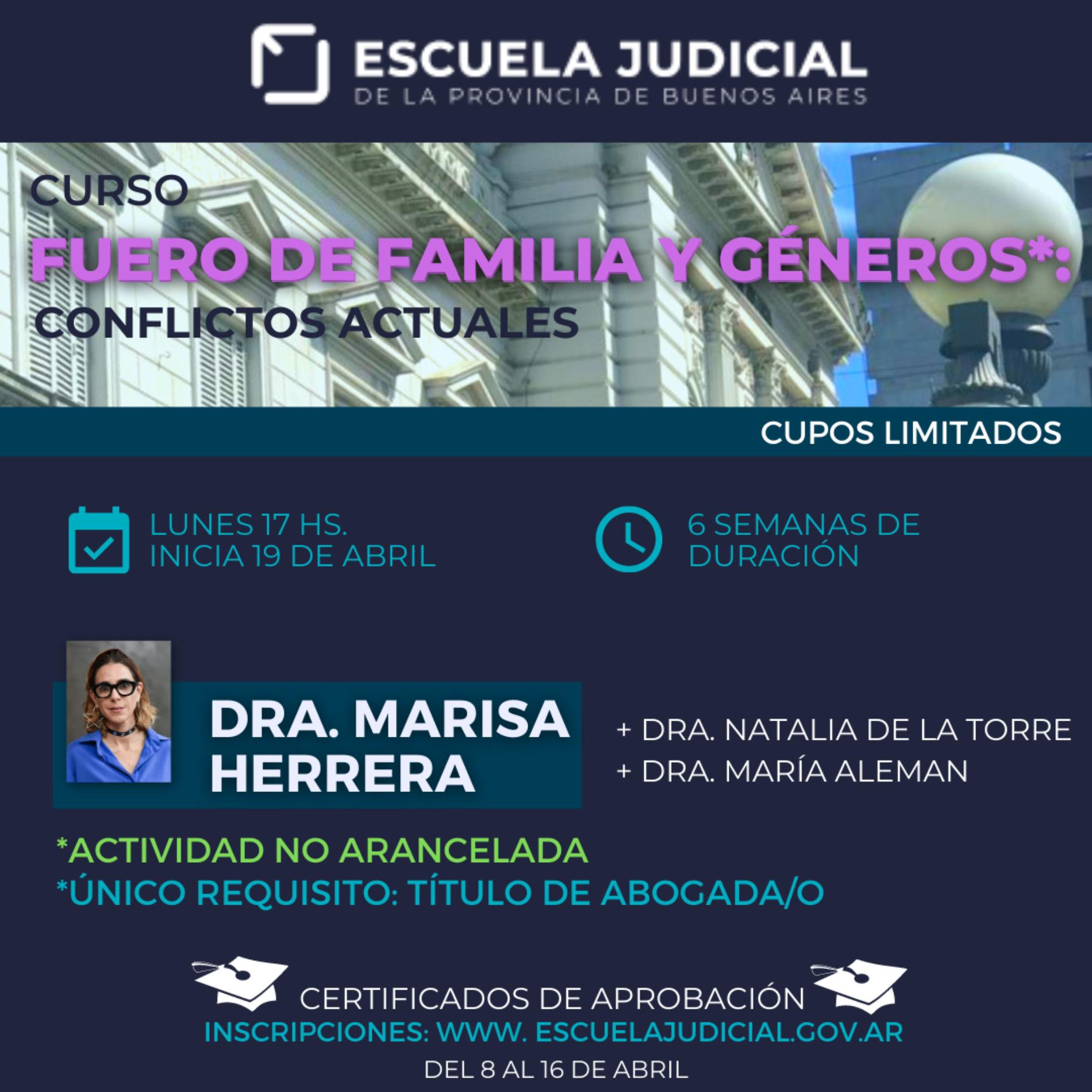 CURSO EXTRACURRICULAR: FUERO DE FAMILIA Y GÉNEROS: CONFLICTOS ACTUALES.