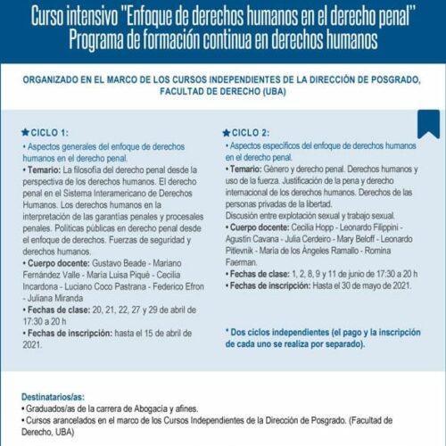 Curso intensivo «Enfoque de derechos humanos en el derecho penal».