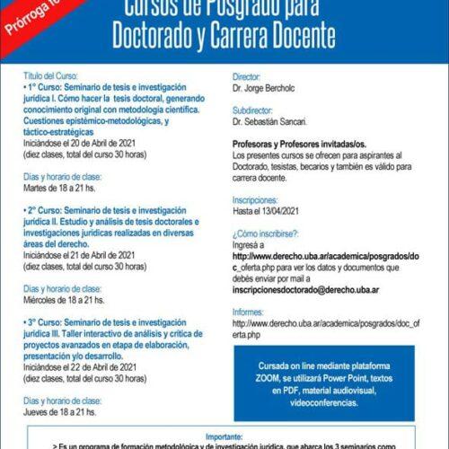 Cursos de Posgrado para Doctorado y Carrera Docente
