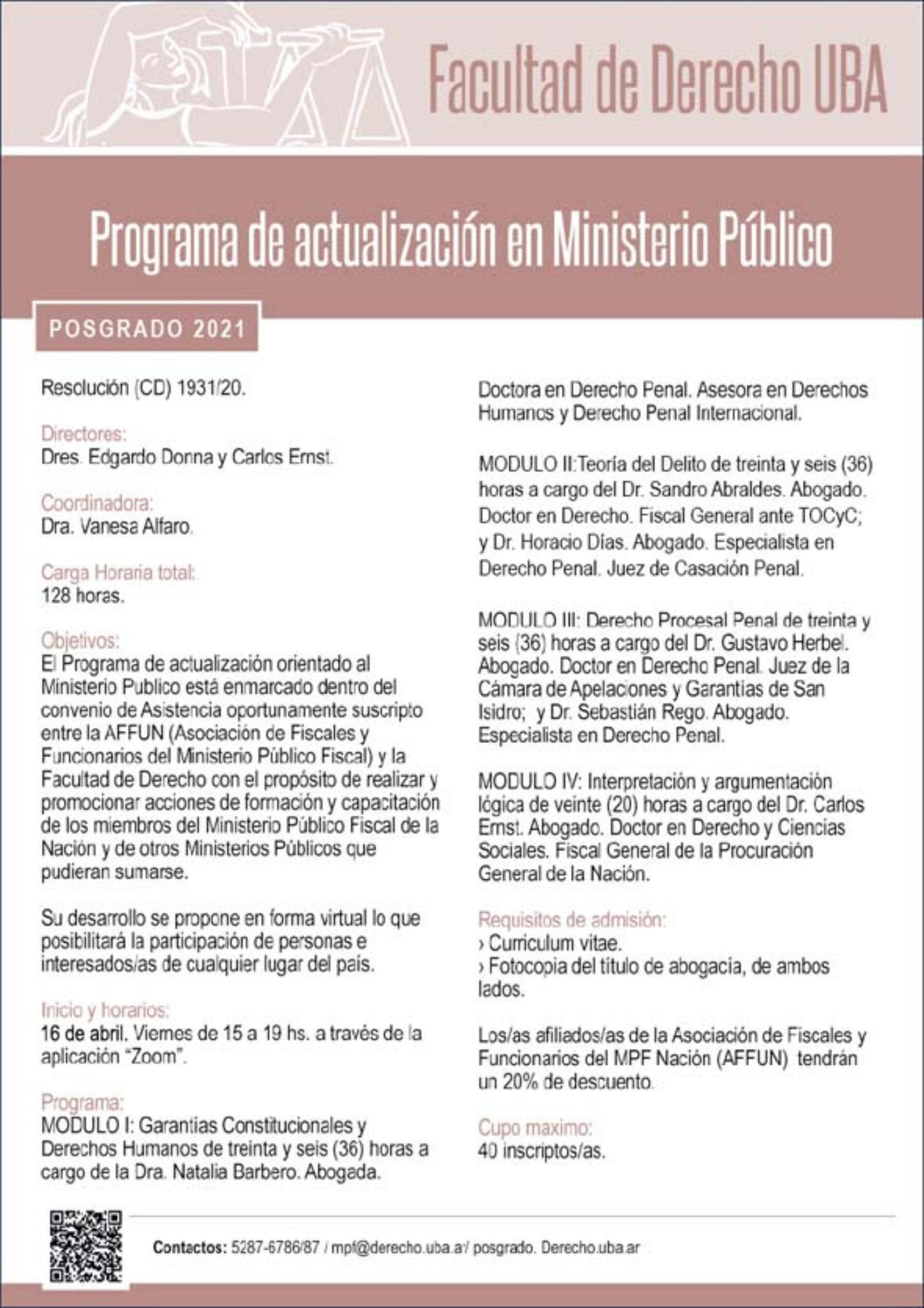 Programa de actualización en Ministerio Público.