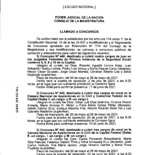 Llamado a concursos – Consejo de la Magistratura de la Nación.
