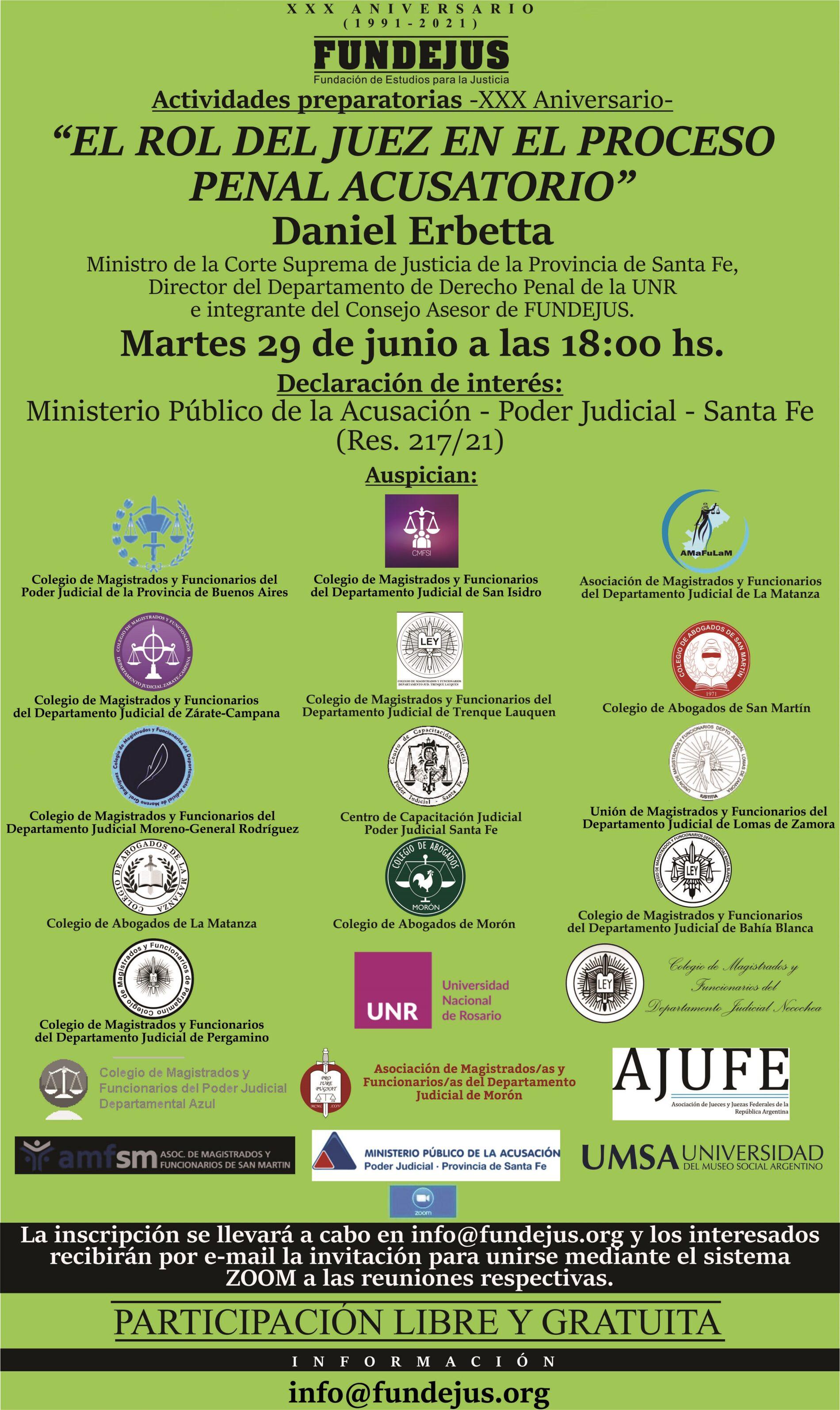 Actividad: «EL ROL DE JUEZ EN EL PROCESO PENAL ACUSATORIO»