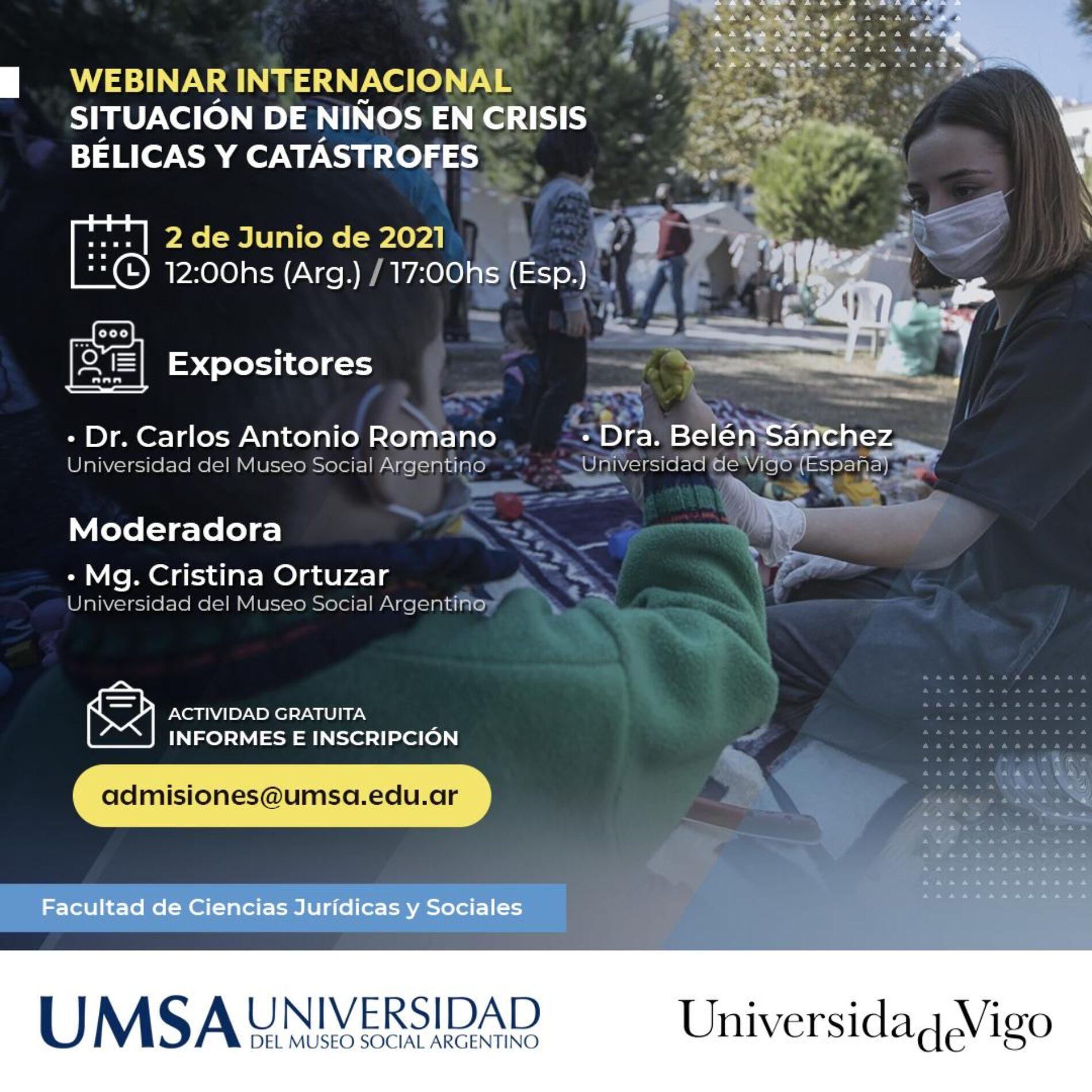 Webinar Internacional: «Situación de Niños en Crisis Bélicas y Catástrofes».