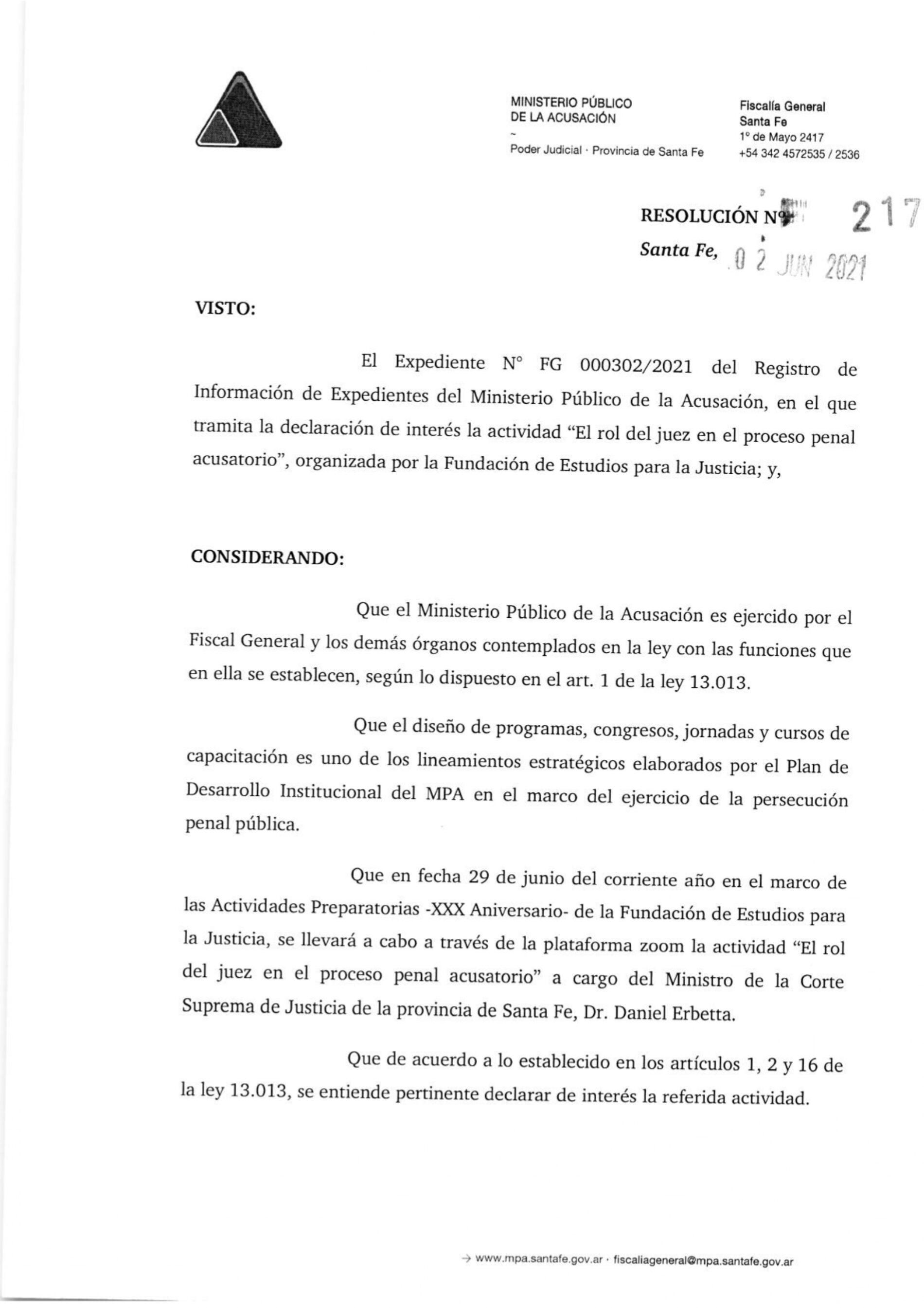 Declaración de interés (Res. 217/21) Ministerio Público de la Acusación – Actividad: «El rol del Juez en el proceso penal acusatorio»