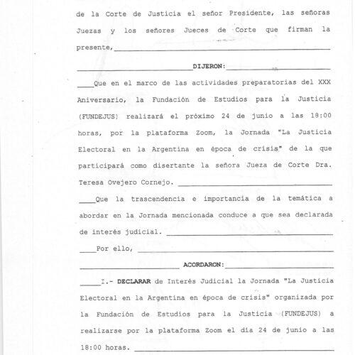 Declaración de interés – Corte de Justicia de Salta (Acordada 13400/21) – Actividad: «La Justicia Electoral en época de crisis»