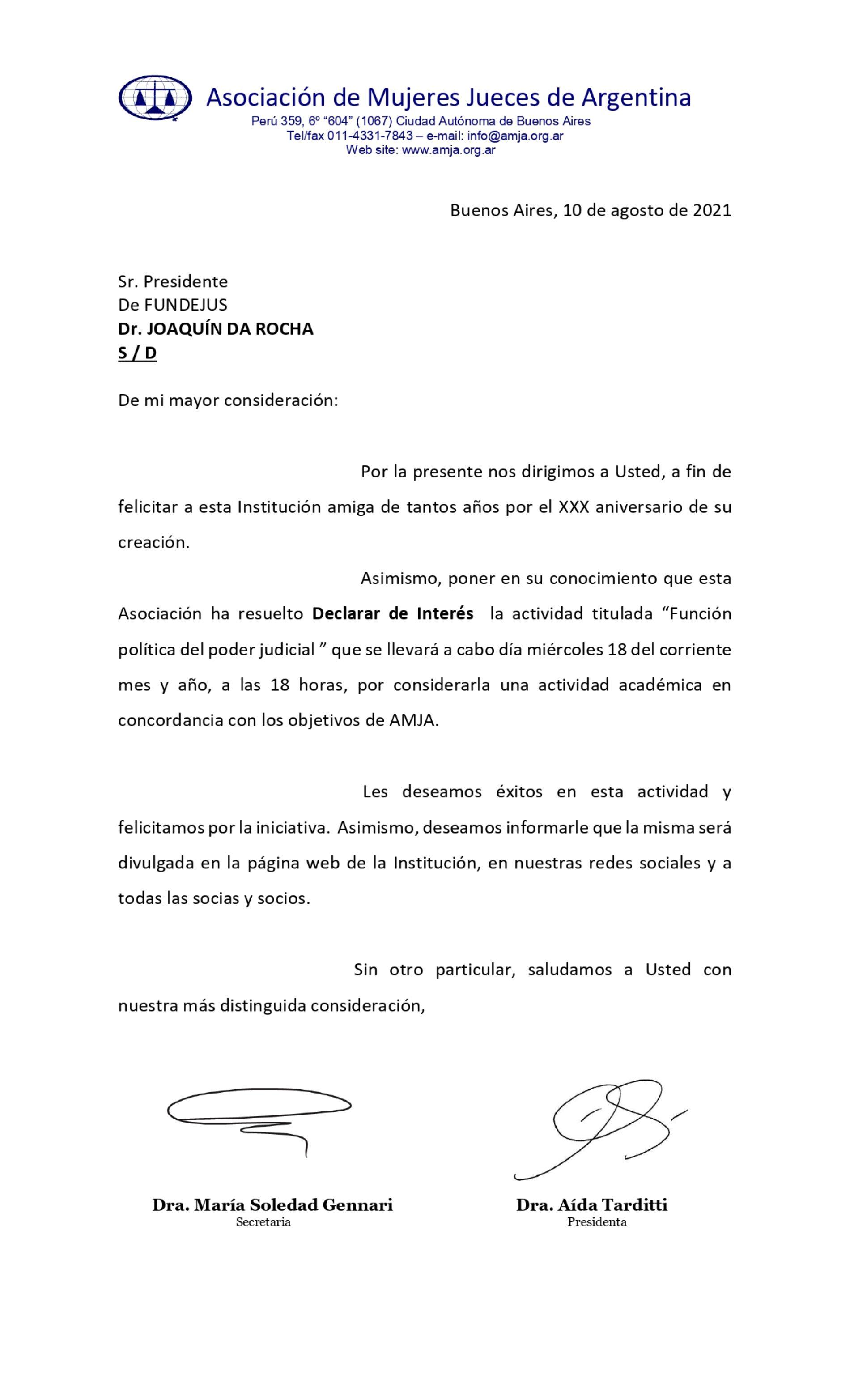Declaración de interés – Asociación de Mujeres Jueces de Argentina (AMJA) – Actividad: «Función política del poder judicial»