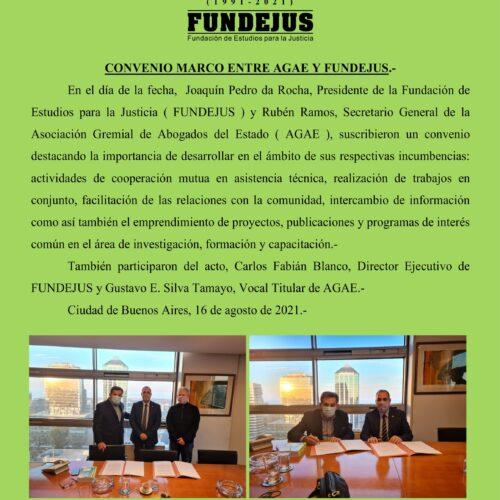 Firma de Convenio entre la Asociación Gremial de Abogados del Estado ( AGAE ) y Fundación de Estudios para la Justicia ( FUNDEJUS ).-
