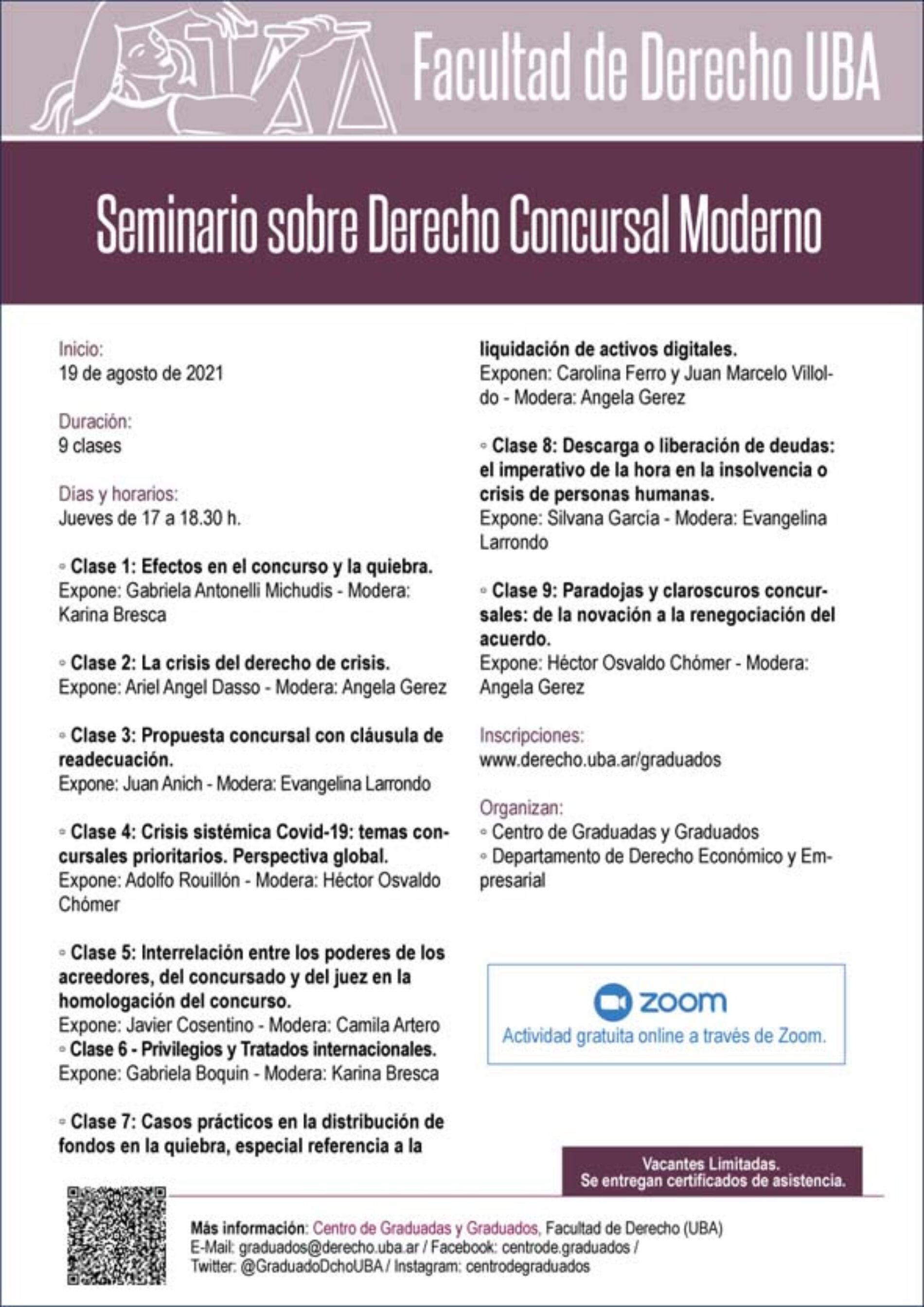 Seminario sobre Derecho Concursal Moderno – Facultad de Derecho, UBA.