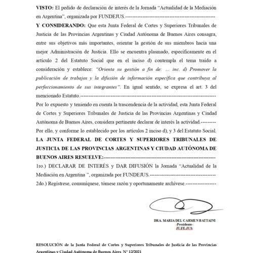"""Declaración de interés: JU.FE.JUS (Res. 12/2021) – Actividad: """"Actualidad de la Mediación en Argentina"""""""