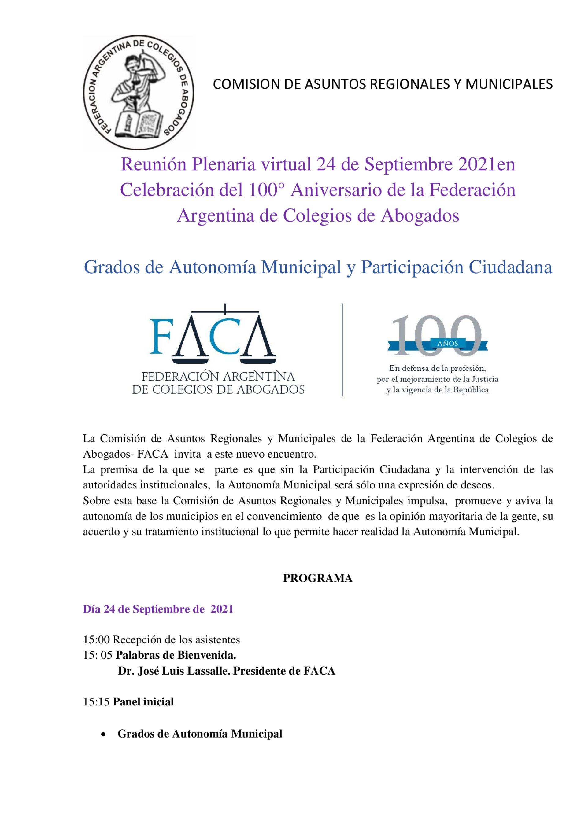 Reunión virtual – Celebración del 100° Aniversario de la Federación  Argentina de Colegios de Abogados.