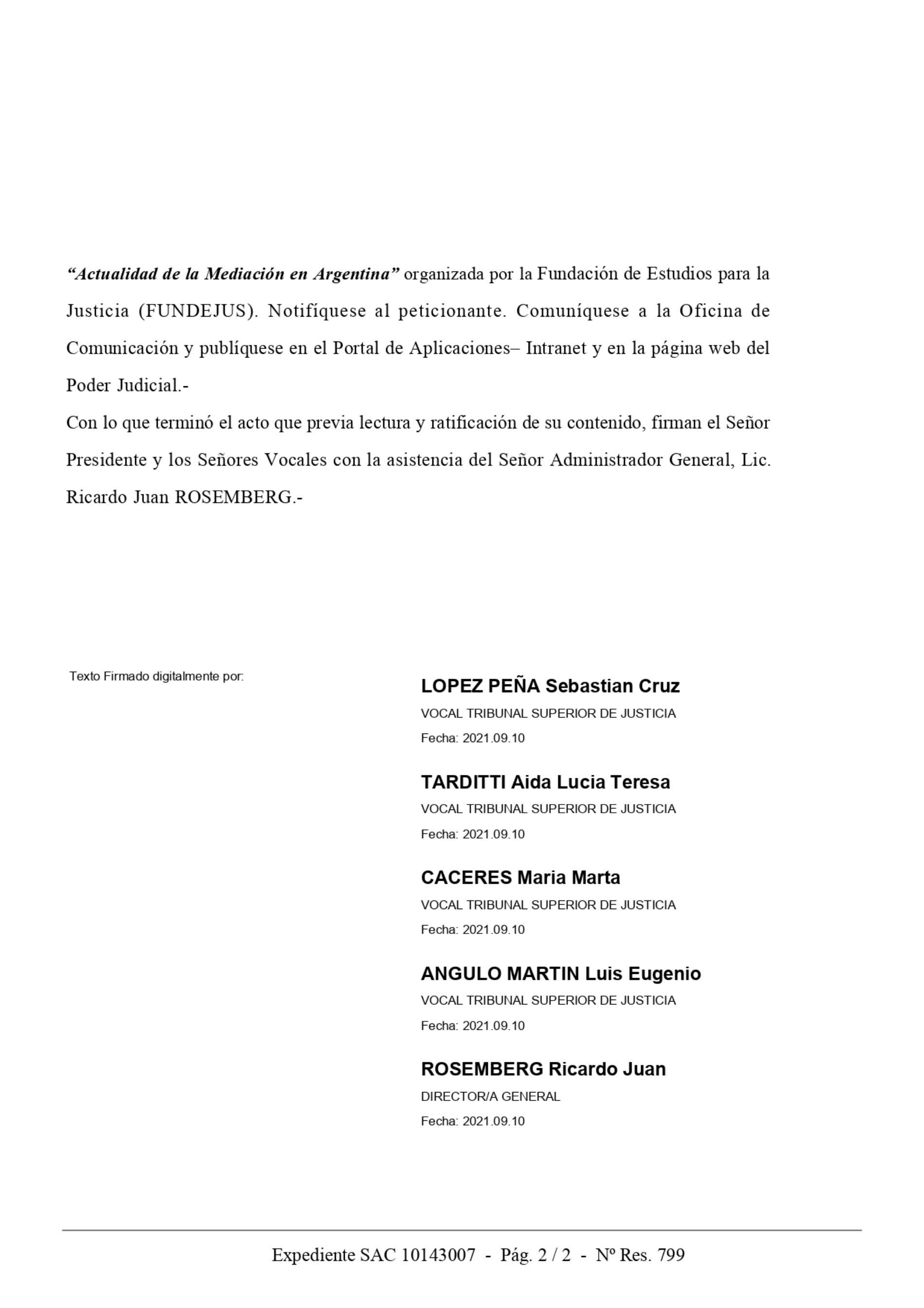 Declaración de interés: Tribunal Superior de Justicia de Córdoba (Ac. 799/2021).