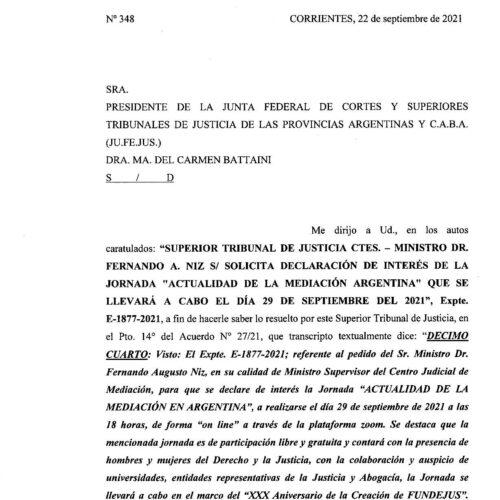 Declaración de interés – Superior Tribunal de Justicia de Corrientes (Oficio 348/2021) – Actividad: «Actualidad de la Mediación en Argentina»