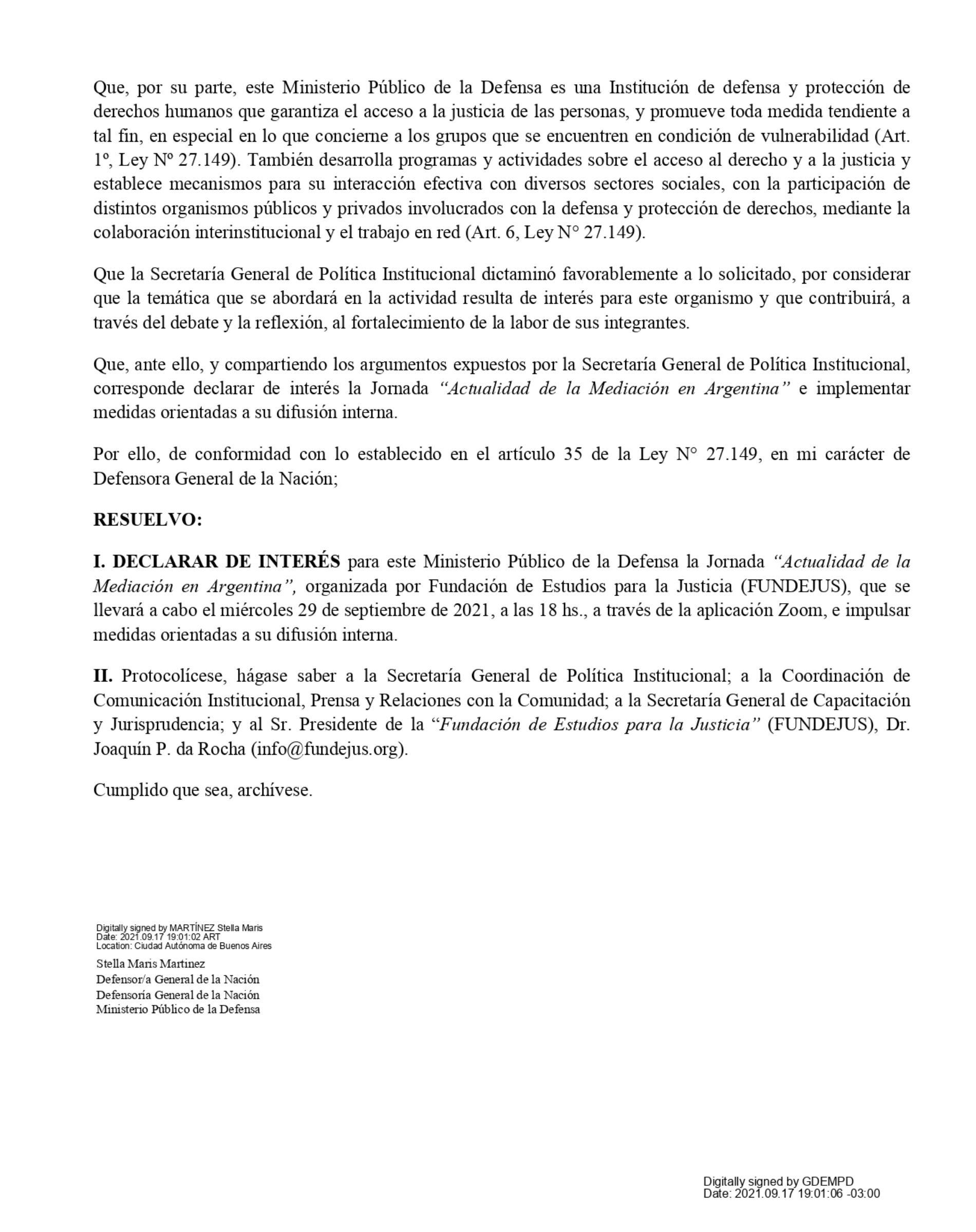 Declaración de interés: Defensoría General De la Nación (Res. 1199/2021).