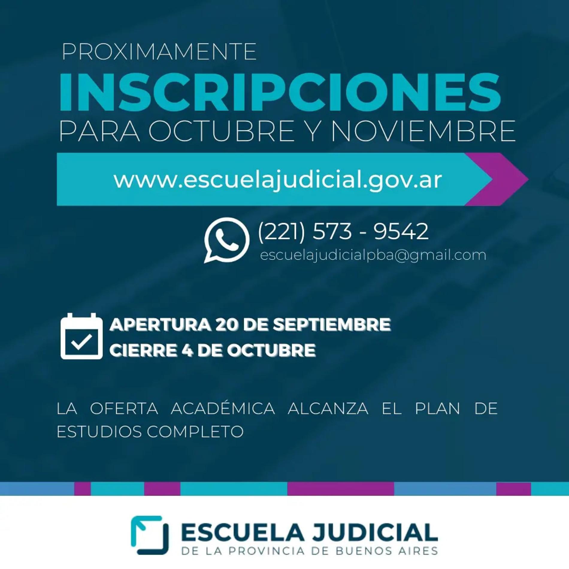 Inscripciones: Cursos curriculares y extracurriculares de Octubre/Noviembre -Escuela Judicial Provincia de Buenos Aires-